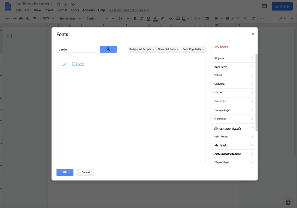 how to add Cardo font in Google Docs