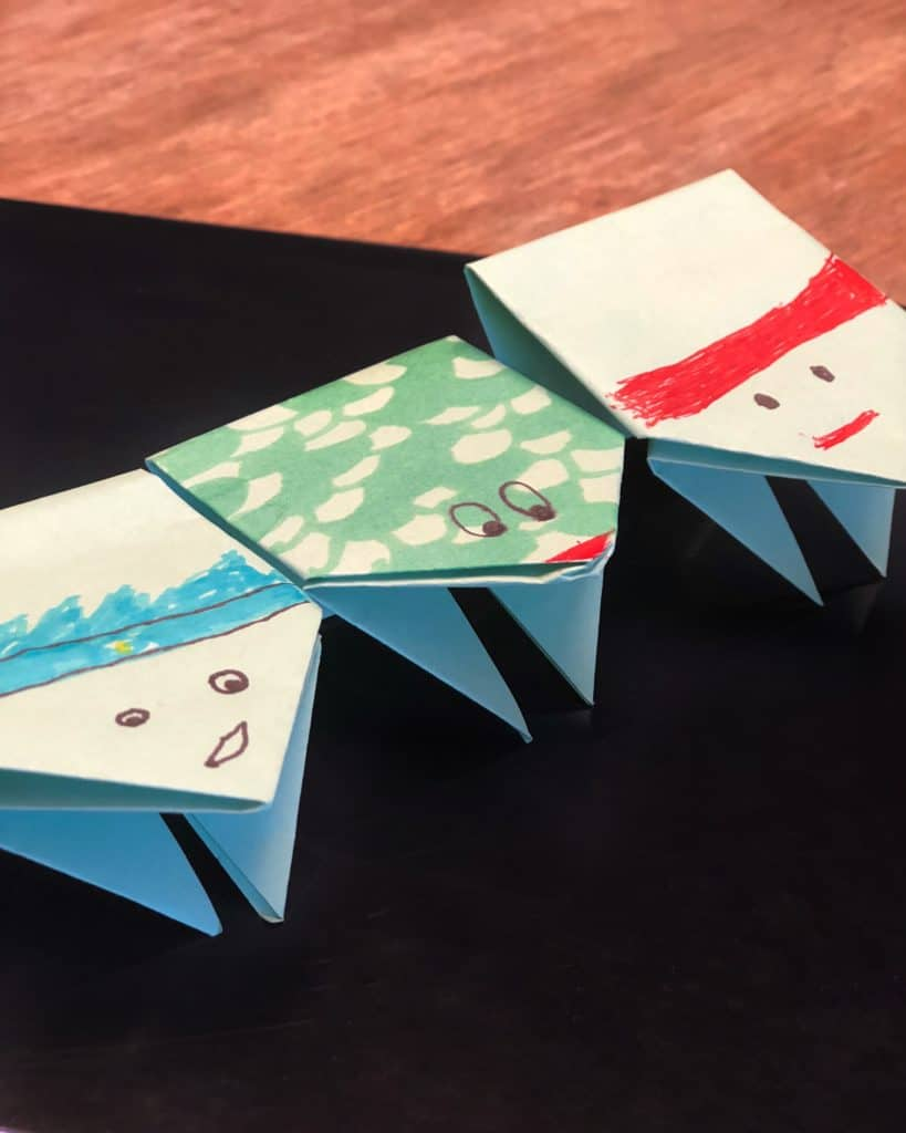 origami jumping frogs for Passover