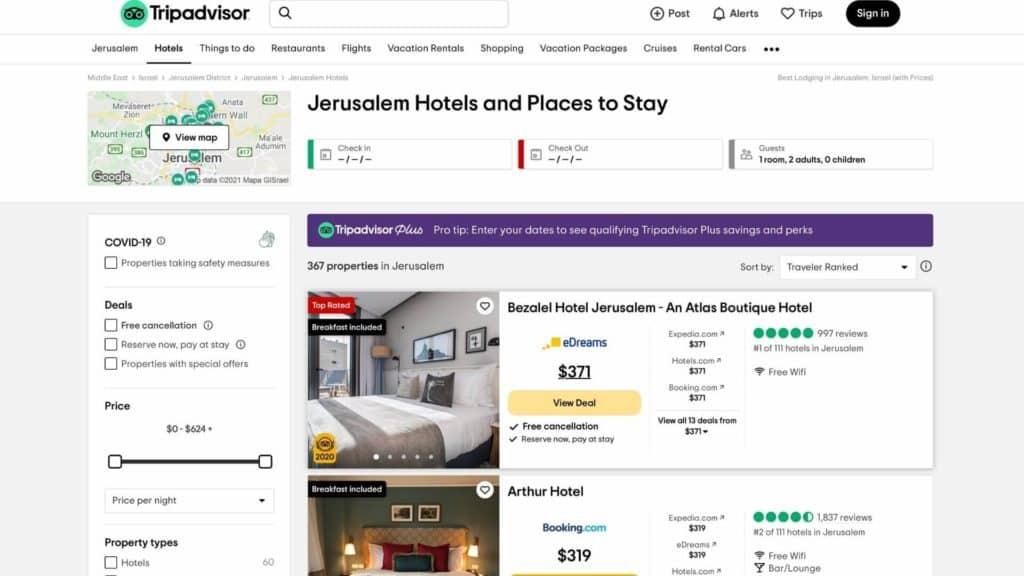 TripAdvisor hotels Jerusalem