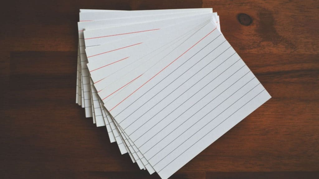 ruled/lined flashcards