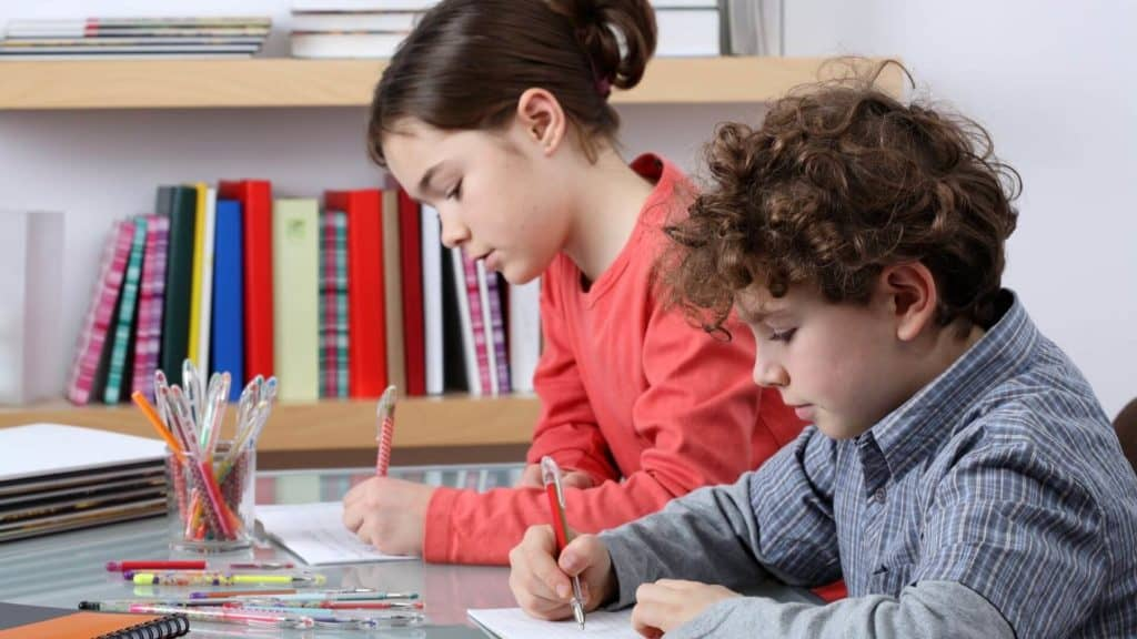 kids studying together at home